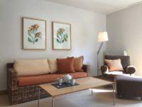 Wohnzimmer mit braunem Sofa