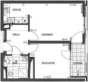 Grundriss Zeichnung einer Wohnung
